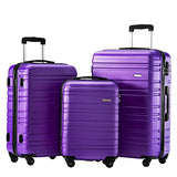 Luggage Set 3 Piece Set Suitcase Set Spinner Hard Shell Lightweight (Purple)