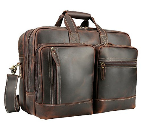 Polare Full Grain Leather 16.5'' Expandable Business Briefcase Laptop Travel Bag