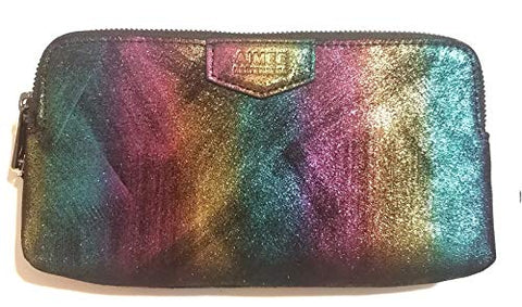 AIMEE KESTENBERG Gala Double Zip Rainbow Black Clutch Wallet