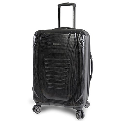 "Perry Ellis Bauer 21"" Hardside Carry-On Spinner Luggage, Black"