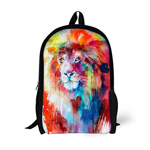Thikin Colorful Lion Head Kids School Backpack Children Book Bags