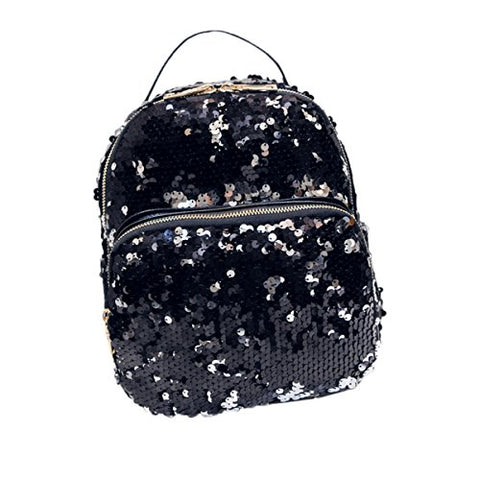 ABage Women's Mini Backpack Purse Chic Sequin PU Leather School Casual Daypacks, Black