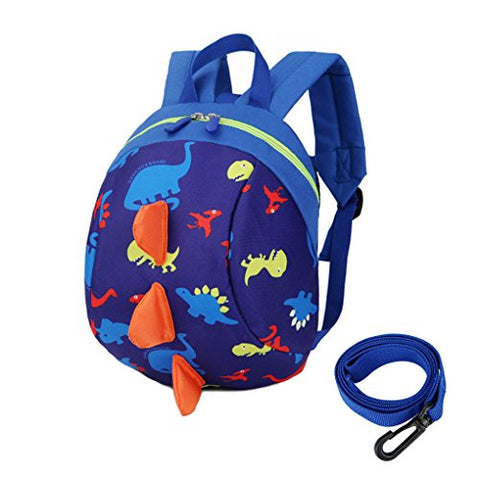 Toddler's Mini Dinosaur Backpack Zipper Toy Snack Bag w/ Safefy Leash Age 1-3