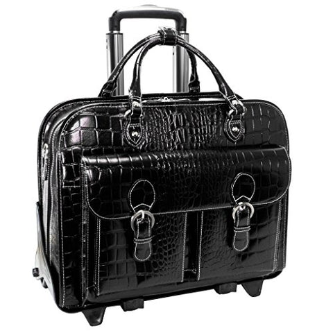 Siamod San Martino 35305 Black Leather Ladies' Detachable-Wheeled Laptop Case