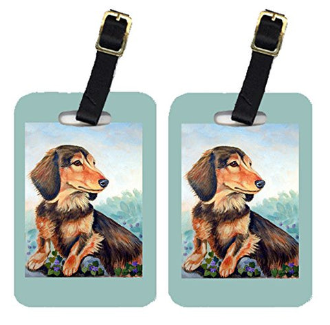 Caroline'S Treasures 7023Bt Pair Of 2 Dachshund Chocolate And Tan Long Haired Luggage Tags,