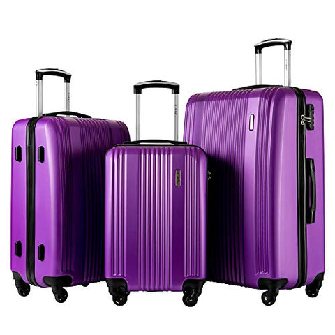 TBWYF Luggage Set 3 Piece Set Suitcase set Spinner Hard shell Lightweight (purple)