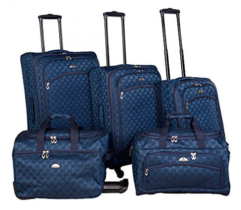 American Flyer Madrid 5 Piece Spinner Luggage Set (Black Blue)