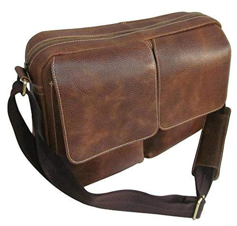 AmeriLeather Dual Flap Leather Messenger (Brown)