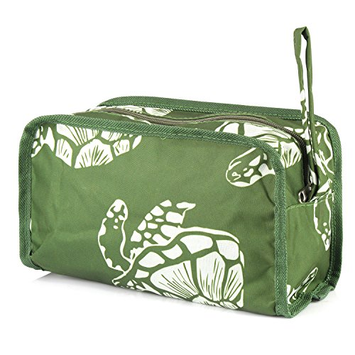 Zodaca Travel Cosmetic Makeup Organizer Case Bag Pouch, Green Turtle