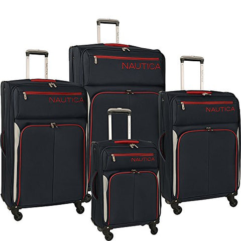 Nautica Ashore Luggage Set, Navy/Silver/Red