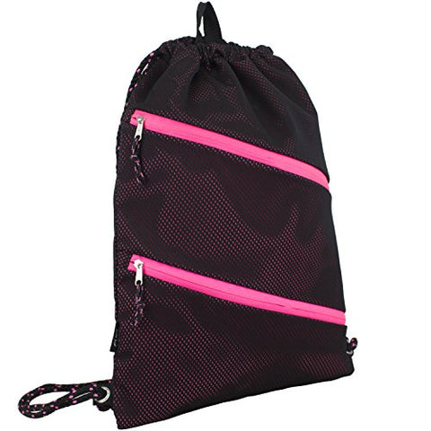 Fuel Dual Zip Sporty Cinch Sling with Durable Chord Straps, Black Mesh/Pink Underlay