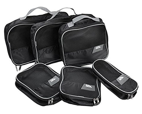 Cabin Max Metz Set of Six Packing Cubes - Perfect Travel Organizers Black