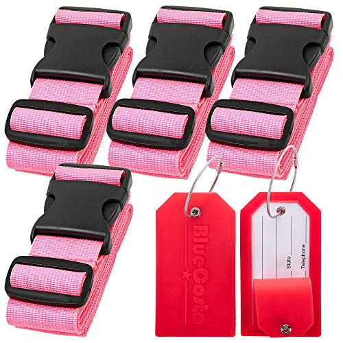 BlueCosto 4x Pink Luggage Straps Belts + 2x Red Suitcase Tags Labels