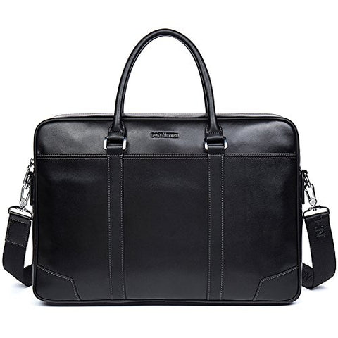 Bostanten Leather Briefcase Messenger Business Bags Laptop Handbag Black