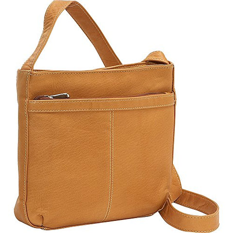 Le Donne Leather Shoulder Bag W/Exterior Zip Pocket (Tan)