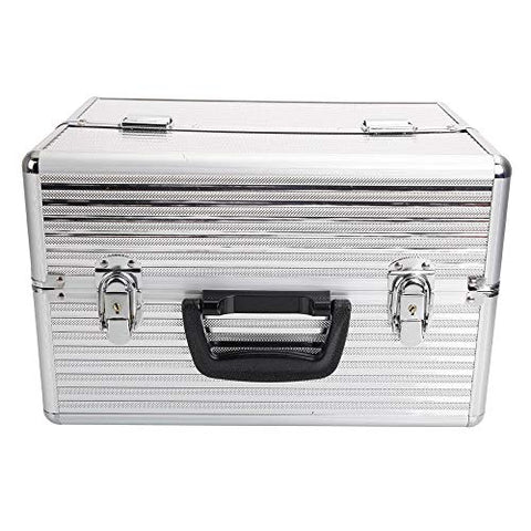 "GHP 13.78""x8.66""x9.84"" Silver Aluminum Cosmetics Makeup Storage Case with 2 Keys"