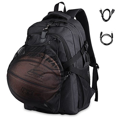 2-FNS Oxford Laptop Backpack, USB Charging & Headphone Port with Basketball Met