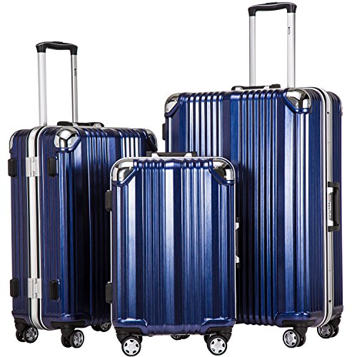 Coolife Luggage Aluminium Frame Suitcase 3 Piece Set With Tsa Lock 100%Pc