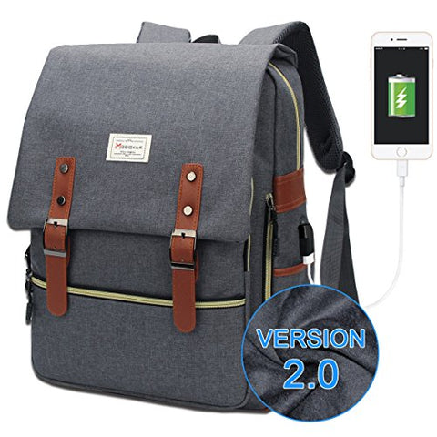 Modoker Vintage Laptop Backpack for Women Men,School College Backpack with USB Charging Port