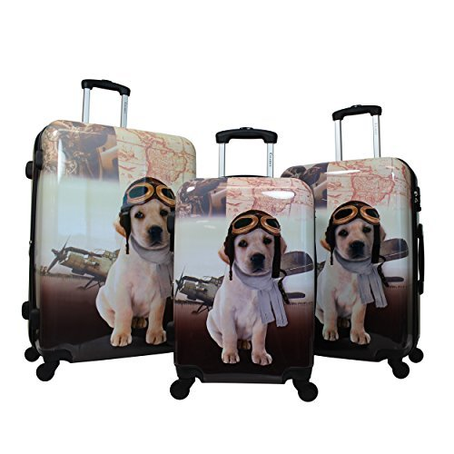 Chariot 3-Piece Hardside Lightweight Spinner Luggage Set, Pilot Dog