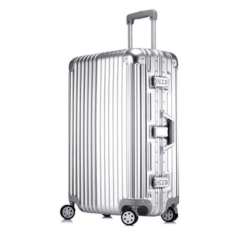 Trolley Suitcase, Caster Suitcase Trolley Suitcase, Retractable Suitcase, Hard-Shell Suitcase With Tsa Lock And 4 Casters, Silver, 24 inch