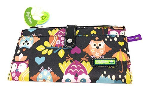 Lily Bloom What a Hoot Black Floral OWLS Front Snap Wallet