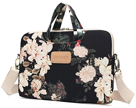 Dachee Black Peony Patten Waterproof Laptop Shoulder Messenger Bag Case Sleeve for 14 Inch 15 Inch Laptop Macbook Pro 15 Case Laptop Briefcase 15.6 Inch