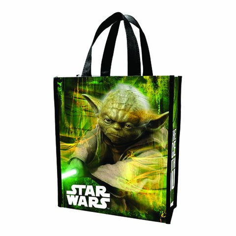 Vandor LLC 99173 Star Wars Yoda Small Recycled Shopper Tote, Green, Black, and White. - SS-VG-99173