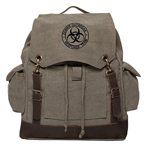 Zombie Outbreak Response Team Rucksack Backpack w/ Leather Straps, Olive & Bk