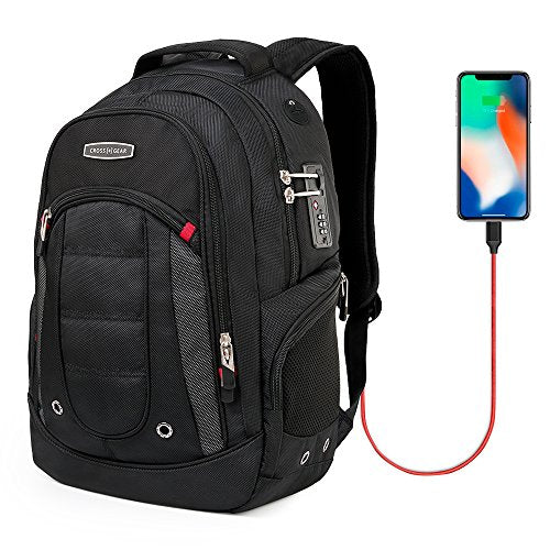 Crossgear Laptop Backpack With Usb Charging Port And Combination Lock- Fits Most 15.6 Inch