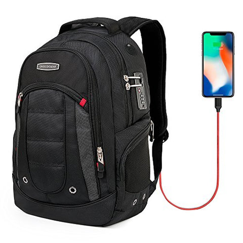 CrossGear Laptop Backpack with USB Charging Port and Combination Lock- Fits Most 15.6 Inch Laptops and Tablets CR-9003BK-USB