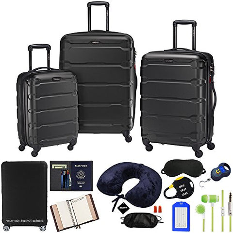 Samsonite Omni 3-Piece Nested Spinner Set - Black With Luggage Accessory Kit