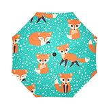 InterestPrint Cute Foxes Seamless Pattern Windproof Auto Open And Close Folding Umbrella,