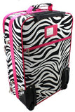 Enimay Women's 3pc Set Roller Luggage Travel Suitcase Bag Pink Zebra