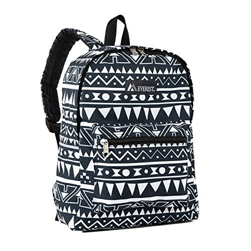 Everest Classic Pattern Backpack, Navy/White Ethnic, One Size