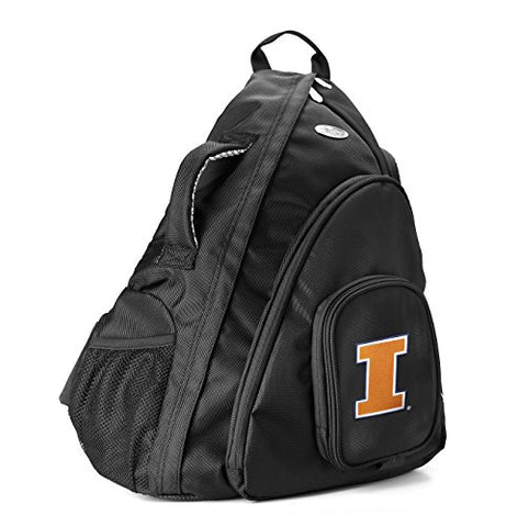 NCAA Illinois Illini Travel Sling Backpack, 19-Inch, Black
