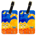 Carolines Treasures 6020BT Orange Tabby Cat On The Fence Luggage Tag - Pair 2, 4 x 2.75 In.