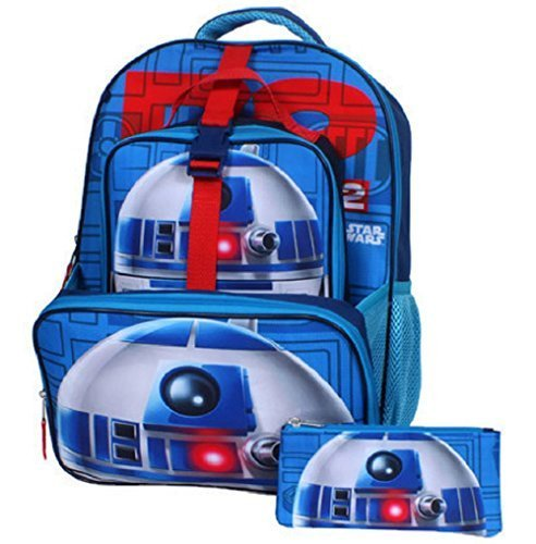 "Star Wars Boys' Big R2d2 16"" Backpack, Lunch Tote, Pencil Case, Blue, 16 Inches"