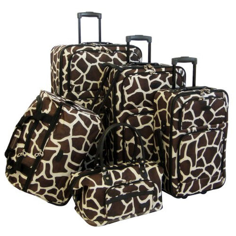 American Flyer Luggage Animal Print 5 Piece Set, Giraffe Brown, One Size