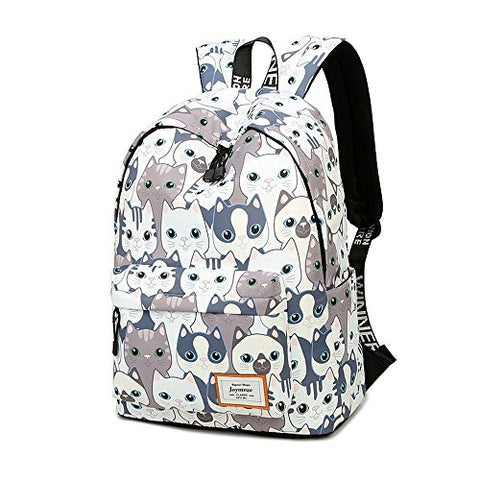 Joymoze Leisure Backpack For Girls Teenage School Backpack Women Backpack Purse (Cat)
