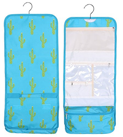 Hanging Toiletry Cosmetic Organizer Bag - Roll Up For Storage And Travel (Turquoise Cactus Print)