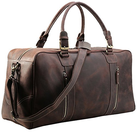 Polare Mens Vintage Leather Duffel Overnight Travel Duffle Weekender Bag (X-Large 23.2'')