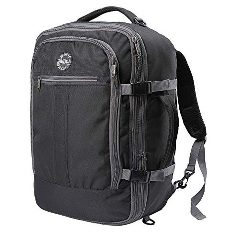 Cabin Max️ Metz XL Expandable Lightweight Backpack for Men and Women - cabin bag 22x14x9 55L capacity - Approved for Most Major Airlines! (Black/Grey)