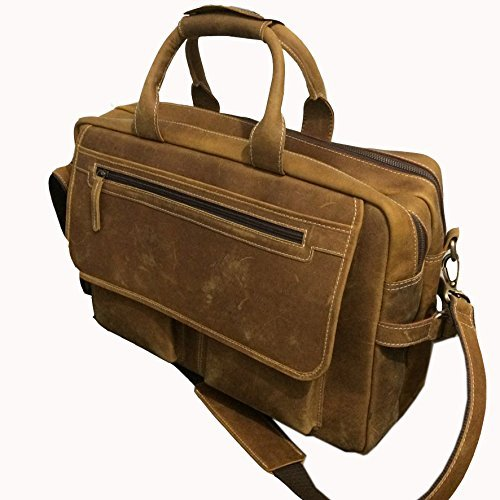 Devil Hunter 18 Inch Vintage Buffalo Leather Messenger Satchel Laptop Briefcase Men'S Bag Crazy