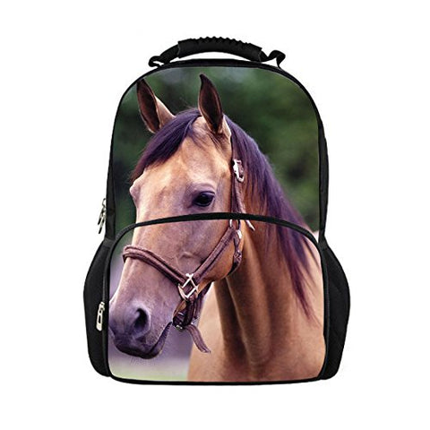Thikin Crazy Horse Cool 3D Animals Children School Book Bags Printing Backpacks