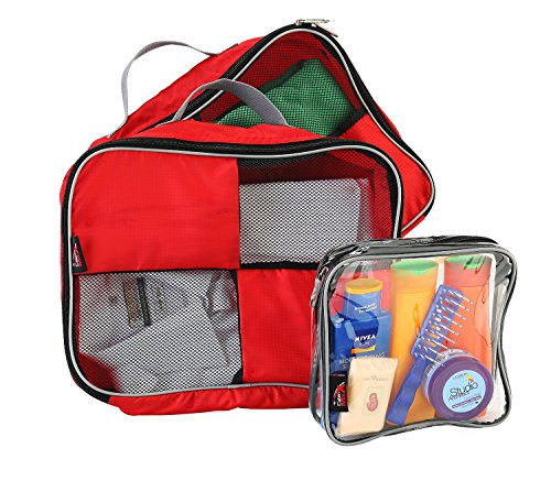 "Packing Cubes / Organisers For Easy Packing And Toiletry Bag 9x9x4.5"" Hand Luggage Approved"