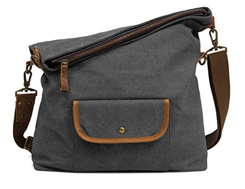 ECOSUSI Unisex Casual Hobo Canvas Cross Body Messenger Shoulder Bags Grey