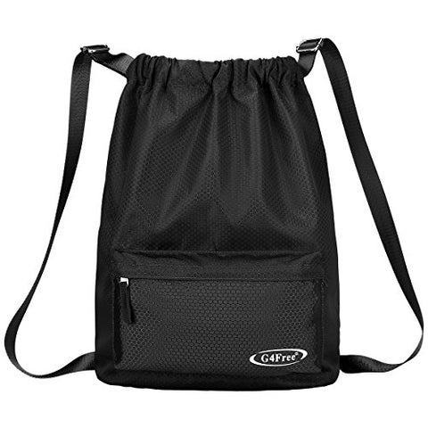 G4Free Drawstring Sackpack Sports Gymbag Daypack 20L Lightweight Backpack Cinch Bag(Black)