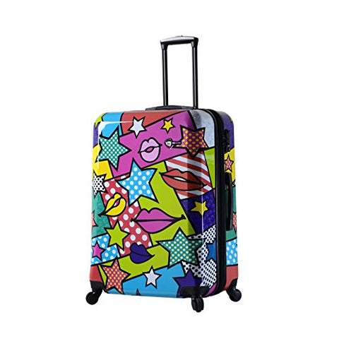 Mia Toro Italy Stars And Kisses Hard Side 28 Inch Spinner, Multi-Color