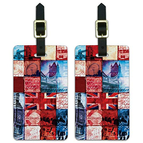 London England Britain Bridge Tile Collage Luggage ID Tags Cards Set of 2